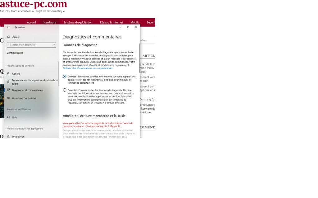Paramètres-Confidentialité-Diagnostics-commentaire