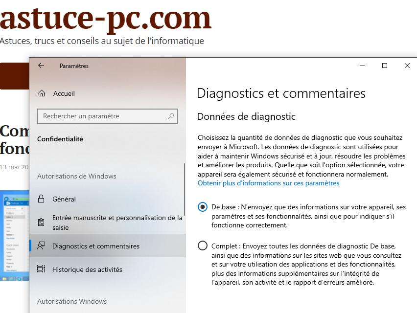 Paramètres-Confidentialité-Diagnostics-commentaires