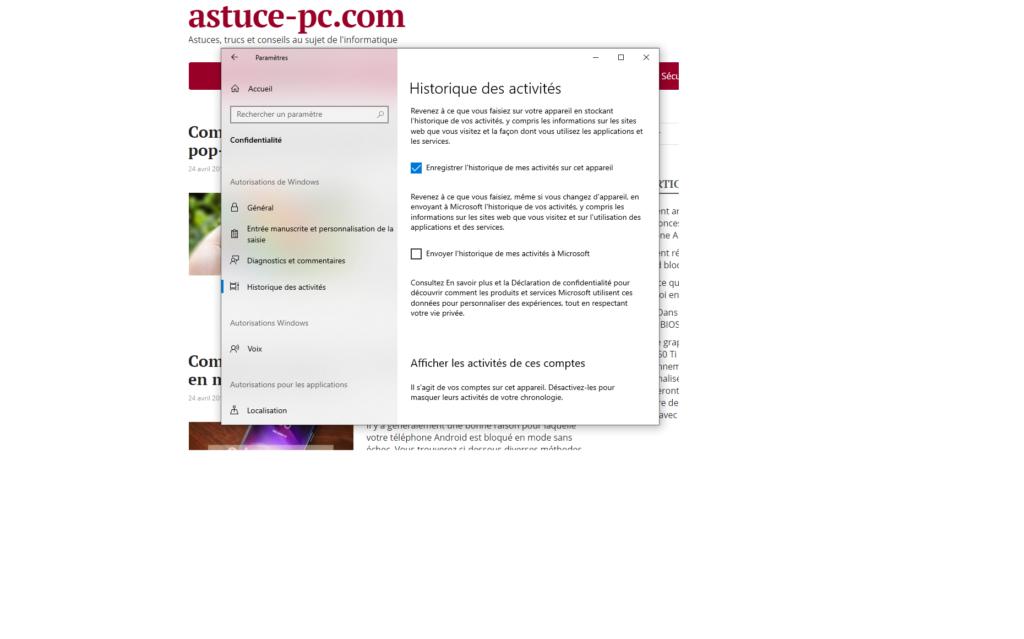 Paramètres-Confidentialité-Historique d'activité