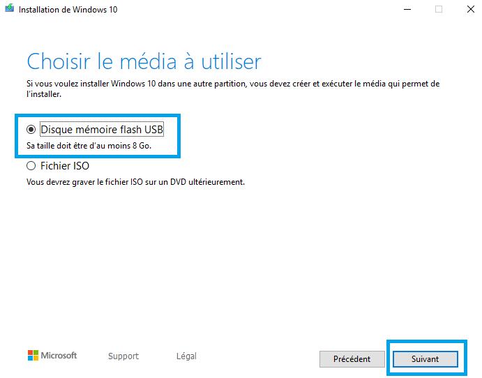 Sélectionnez-l'option-Clé-USB-Créer-une-clé-USB-amorçable-Windows-10