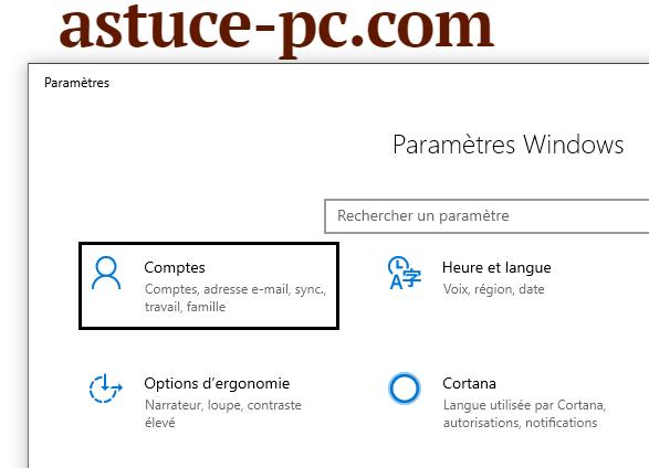 paramètres-Comptes