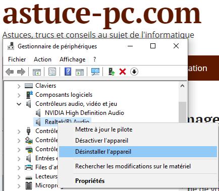 services-audio-ne-répondent-pas-dans-Windows-10-Désinstaller-le-périphérique