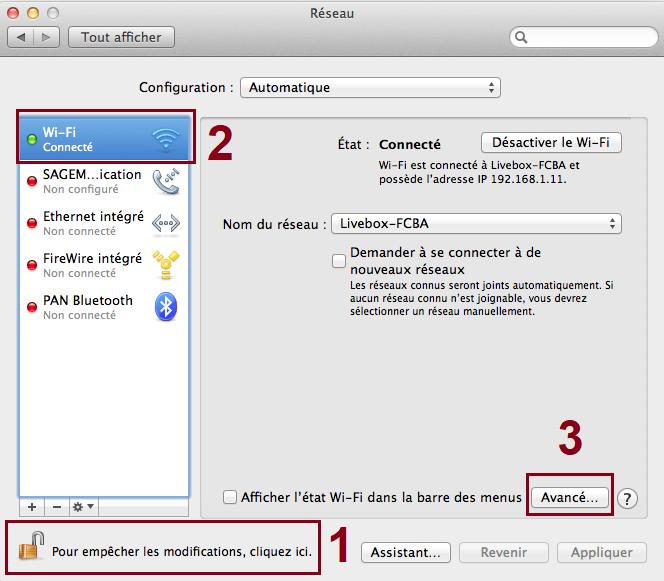 Préférences-Système-l'onglet-Réseau-Mac