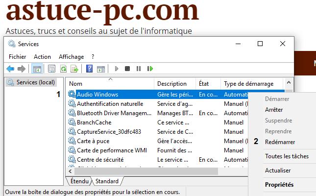 services-audio-ne-répondent-pas-dans-Windows-10-bouton-droit-sur-Windows-Audio