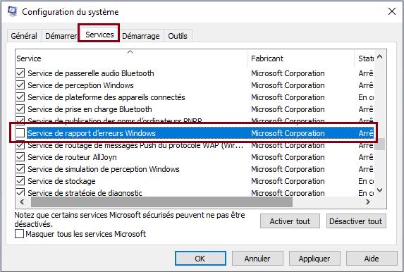 service-de-rapport-d'erreurs-Windows
