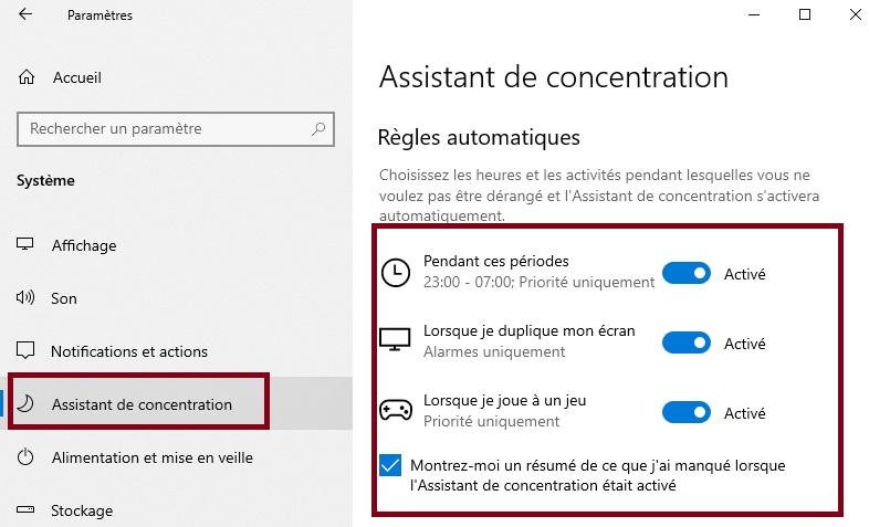 comment-activer-et-utiliser-l'assistant-de-concentration-La-section-Règles-automatiques
