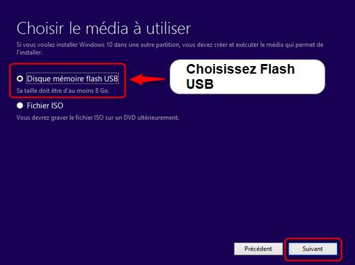 choisissez-USB-Flash-Windows-10